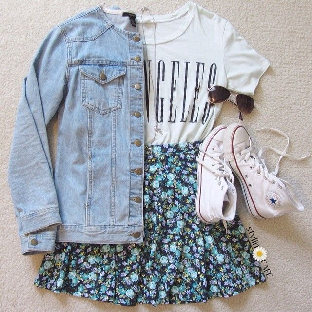denim jacket + floral skirt + chuck taylors