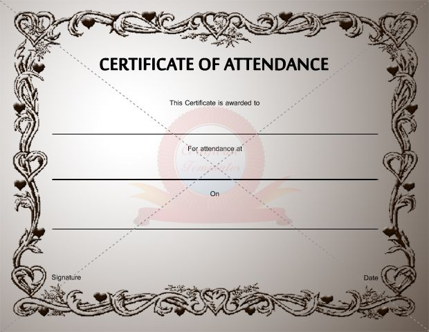 Certificate Of Attendance Template | Certification Of Attendance