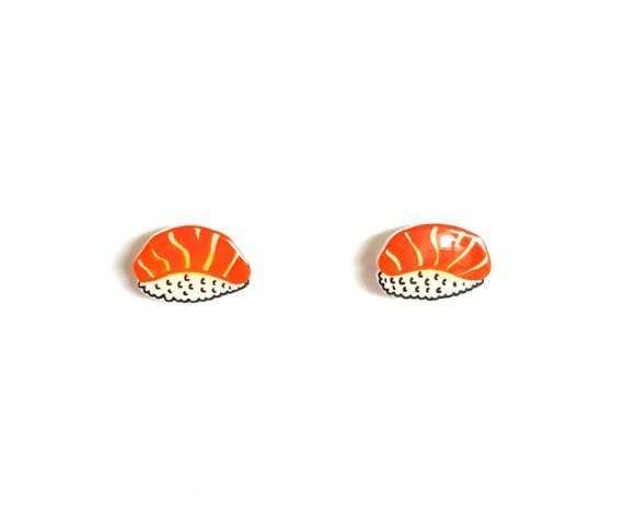 Salmon Sushi Stud Earrings | Large, Shrink Plastic, Cute, Food.