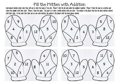 Roll two dice and color the sum. Be the player with the most mittens colored to win!