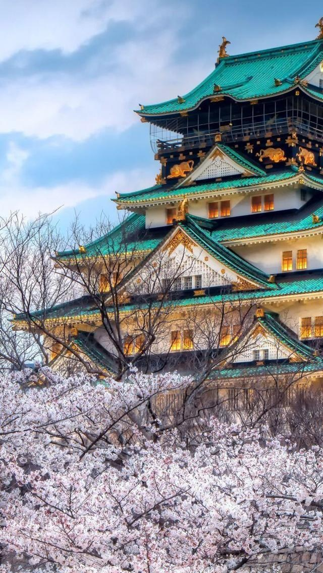 Oosaka-Castle.from Japan seen in the Spring