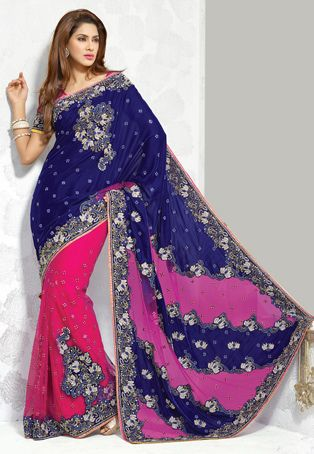 Blue and Fuchsia Velvet and Net Saree with Blouse
