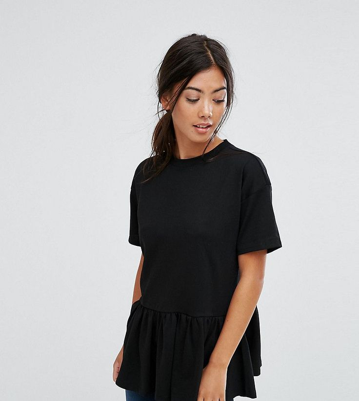 Get this Asos Petite's basic top now! Click for more details. Worldwide shipping. ASOS PETITE Casual Smock Top - Black: Petite top by ASOS PETITE, Soft-touch cotton jersey, Crew neck, Short sleeves, Ruffle hem, Relaxed fit, Machine wash, 100% Cotton, Our model wears a UK 8/EU 36/US 4 and is 163cm/5'4 tall. 5�3�/1.60m and under? The London-based design team behind ASOS PETITE take all your fashion faves and cut them down to size. Say goodbye to all your short-girl problems with our perfect...