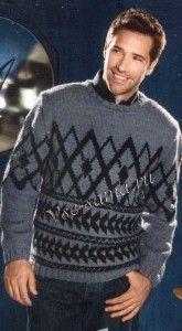 Пуловер спицами с жаккардовыми узорами