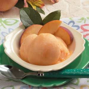 Peach Sorbet. We have a loaded peach tree and the temps here are over 100 degrees. What a treat this will be!