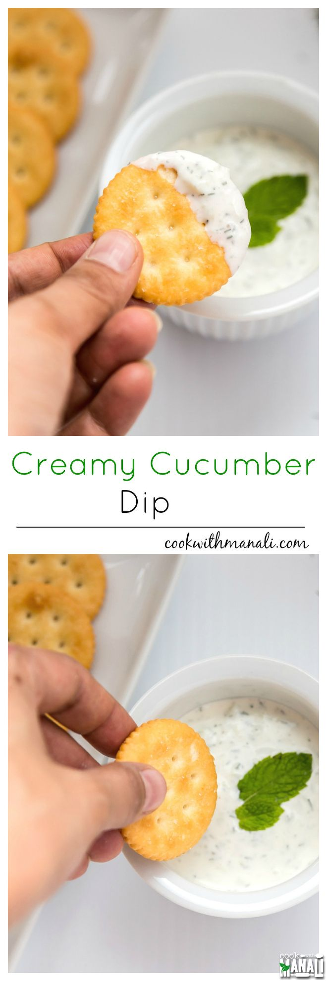 Creamy Cucumber Dip is perfect to dip pretzels, chips, crackers and more. It's also fantastic with wraps, quesadillas and burritos! Find the recipe on www.cookwithmanali.com
