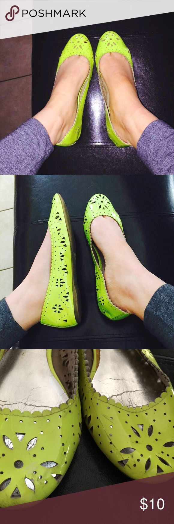 Gap neon flats Scuffing (see pics) super bright and fun for the summer! GAP Shoes Flats & Loafers