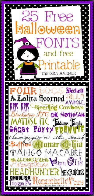 Free Halloween Fonts at the36thavenue.com