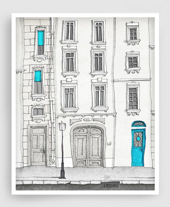 The magic door (vertical) – Paris illustration Fine art illustration Poster Paris art Home decor Large wall art Blue Turquoise Architecture