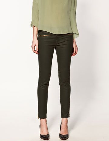 Zara Coated Trousers With Zippers