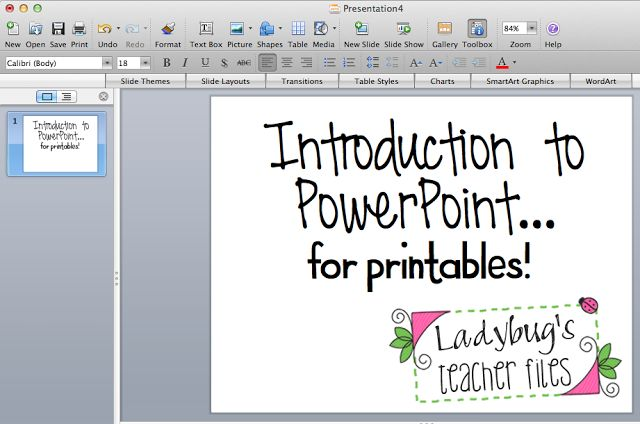 Ladybug's Teacher Files: Tutorial: Introduction to ppt for Printables