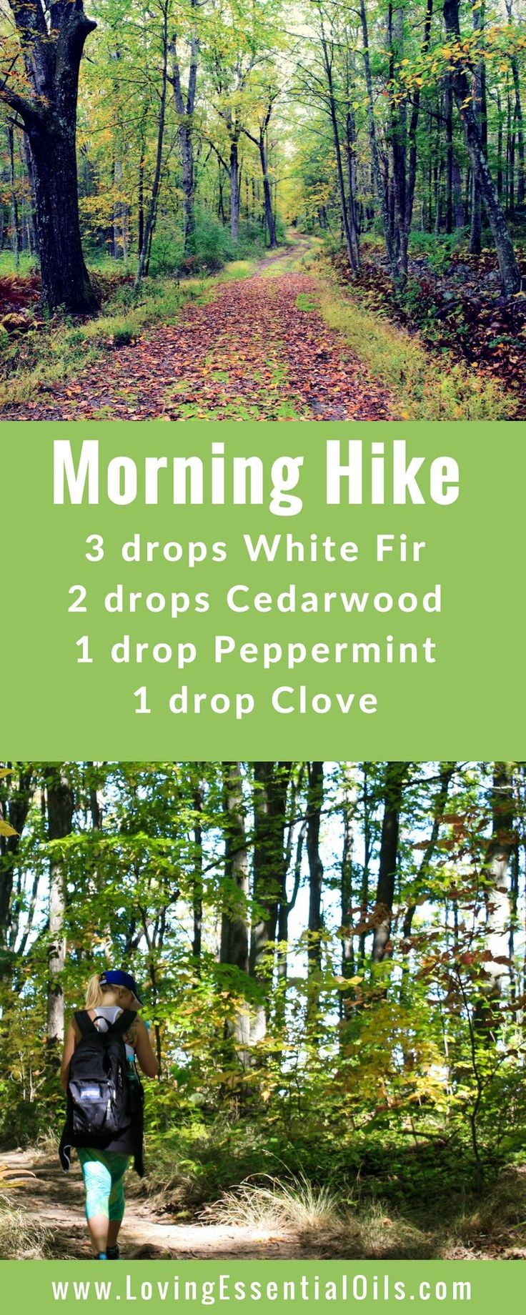 Morning Hike diffuser blend with cedarwood, white fir, clove and peppermint essential oils #diffuser #peppermint #essentialoils