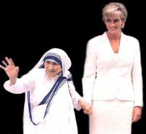 Diana with Mother Teresa.  They passed so closed together ... media covered only one at great length.  olc