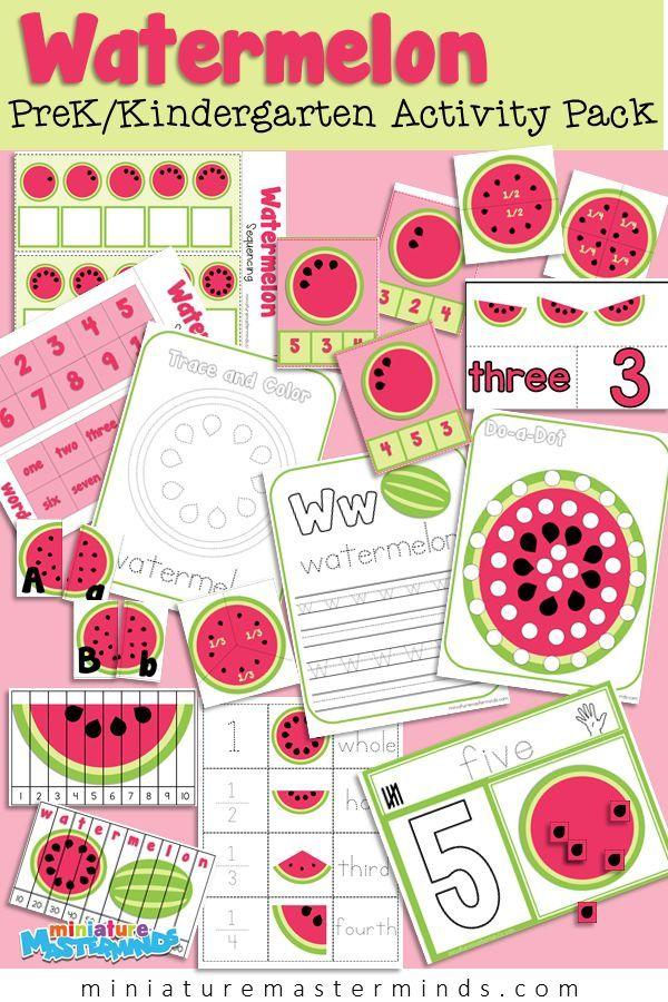 Summer Watermelon Themed Preschool Activity Pack Summer