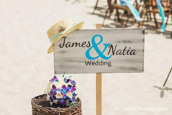 Rustic Beach Wedding Sign Nautical Beach Wedding by iDecor4you