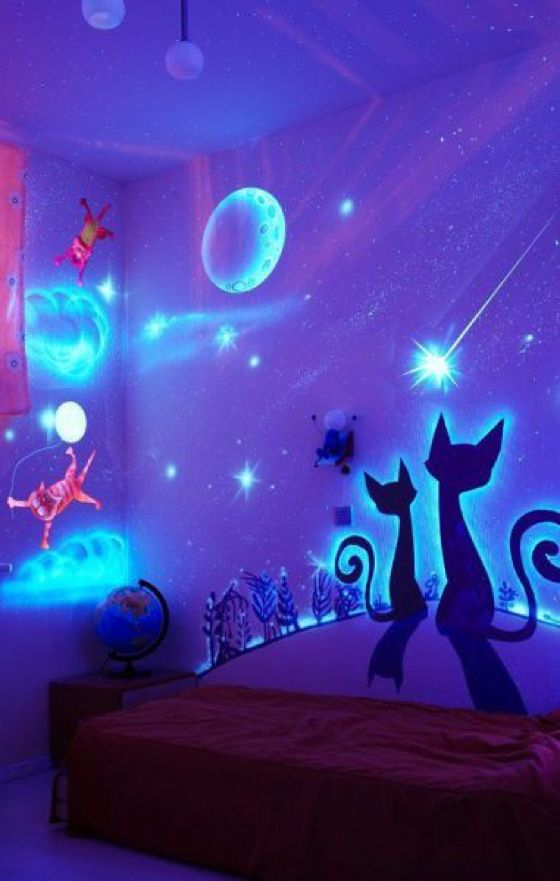 Creatively painted childrens bedroom.