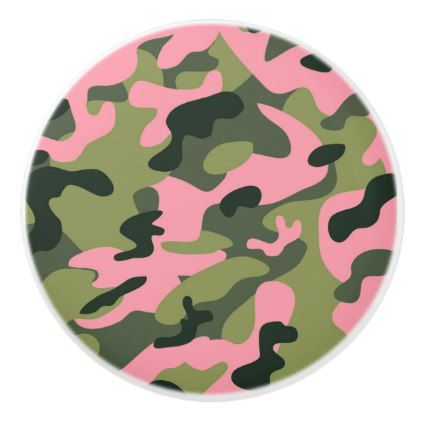 Pink Green Army Camouflage Camo Bedroom Dresser Ceramic Knob - rustic gifts ideas customize personalize