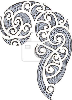 Wall Mural maori tattoo design - lines - art • PIXERSIZE.com