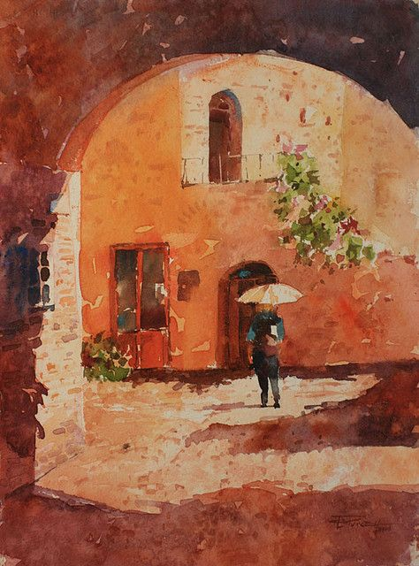 Certaldo Sunlight | by purcell art #certaldo #watercolour #art #lifeisgood #tuscanylife www.hotelcertaldo.it