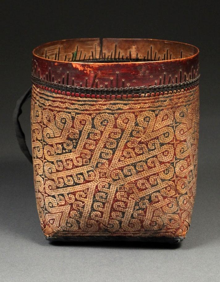 Borneo Seed Basket   Iban Dayak, Kalimantan   Rattan, natural dyes, wood   19th-early 20th century