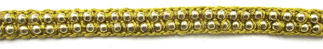 """Trim Two Rows Gold Beads and Gold Satin Thread 1/4"""" wide"""