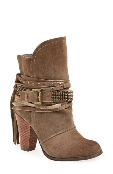 Free shipping and returns on Naughty Monkey 'Santa Anna' Boot (Women) at Nordstrom.com. Layered laces and a crystal-studded belt wrap the shaft and stacked heel of a lightly-distressed suede bootie shaped with a split shaft.