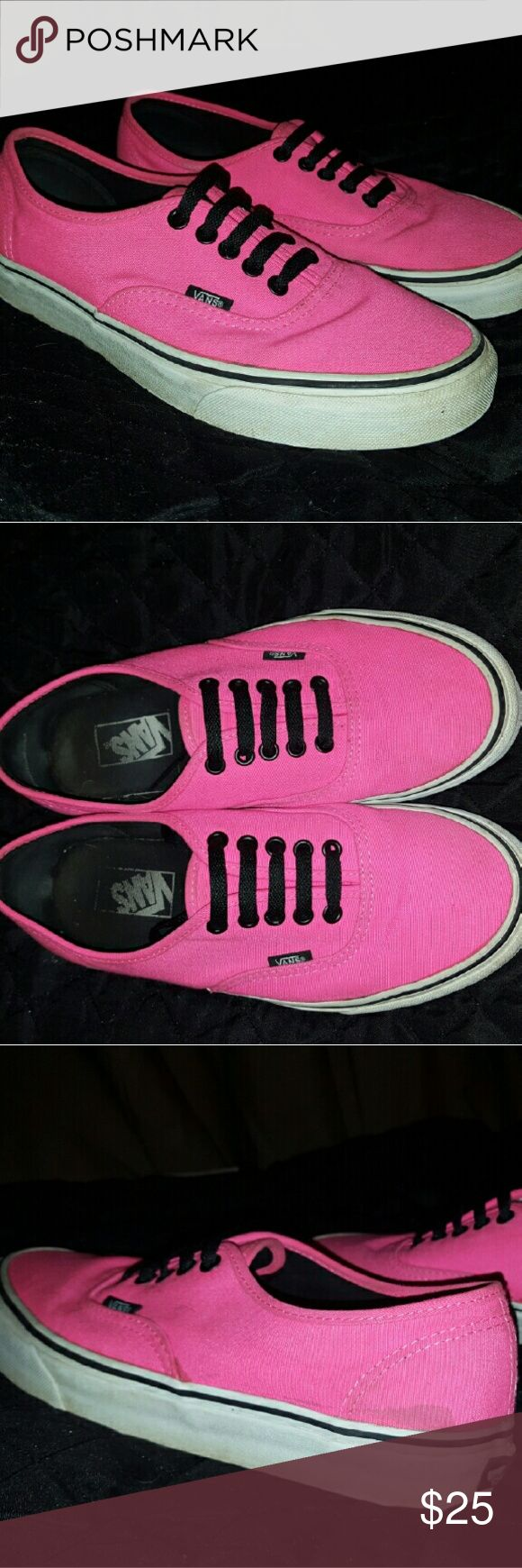 Neon Pink Vans **price negotiable!** Bright pink Vans, worn but in pretty good condition aside from a couple spots. Good for adding a pop of color to any outfit. Price is negotiable!!! Vans Shoes