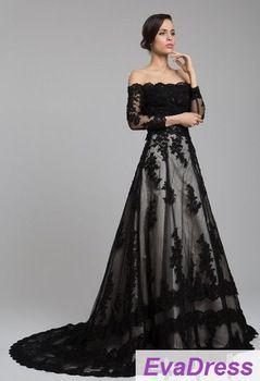 gratis verzending echte steekproef foto 2014 volledige lange mouwen applique bruid bruids jurk kant couture vintage zwarte trouwjurk