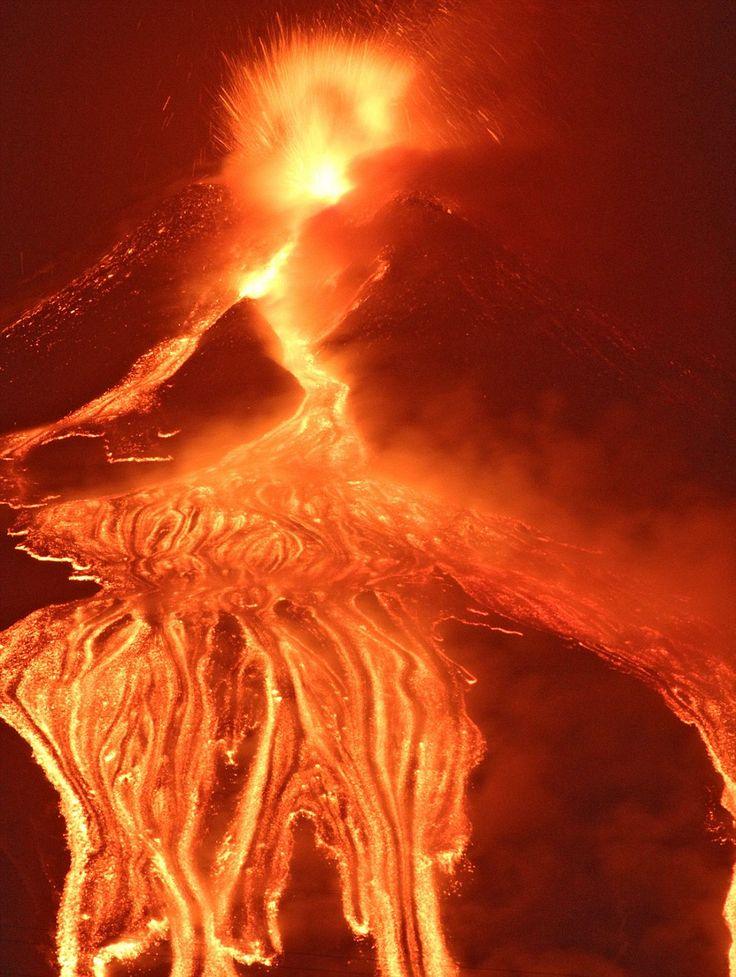Mount Etna appears to almost crack open as it emits lava from the Earth's mantle