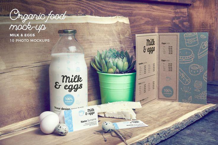 Organic Food Photo Mockup / Milk & Eggs by CreativeForm on Envato Elements