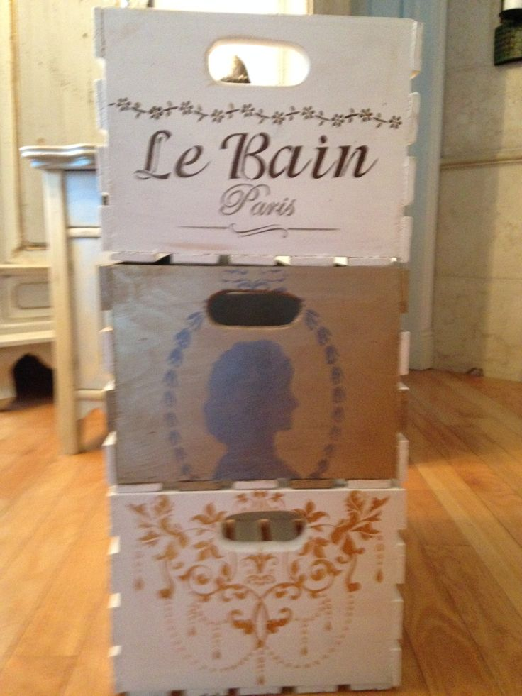 Handpainted wood crates, available from Behind The Purple Door!   #cameo#lebain#pretty