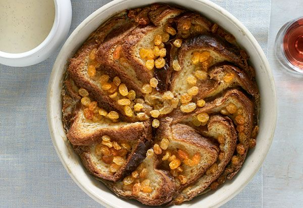 Bread and butter pudding with whiskey crème anglaise is made with buttered slices of brioche and spiked custard sauce.
