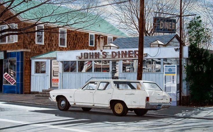 John Baeder - John's Diner with John's Chevelle  #21st #Contemporary #John #Baeder #Painting