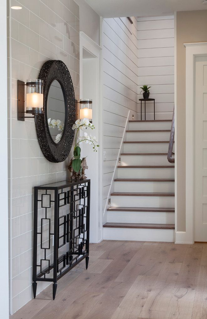 Foyer Ideas Foyer With A Combination Of Shiplap And Tile Accent Wall And White Oak Hardwood Floorin Tile Accent Wall Foyer Decorating White Oak Hardwood Floors