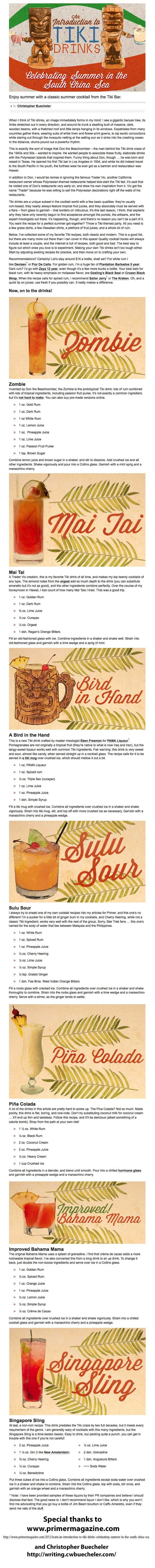 "Thanks to Christopher Buecheler and Primer Magazine for this wonderful presentation of ""TIKI"" drinks recipes . . . FINS UP !!! Links are here to read the full article."
