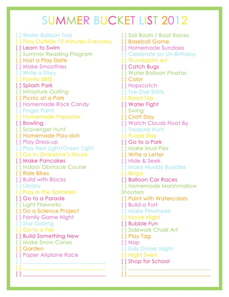 Great list of things to do with your kids during the summer!!