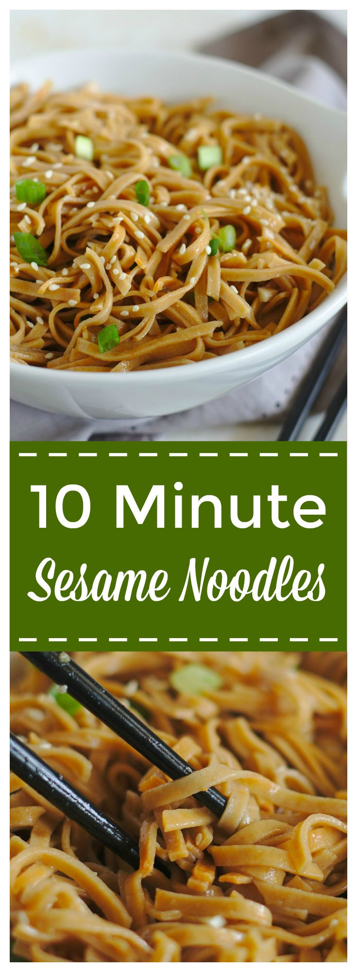 Sesame Noodles – A quick and easy 10 minute meal that is so delicious! Cold noodles topped with a light sesame sauce and tossed with sesame seeds and green onions. These sesame noodles are sure to be a new favorite! #noodles #asian #sesame #dinner