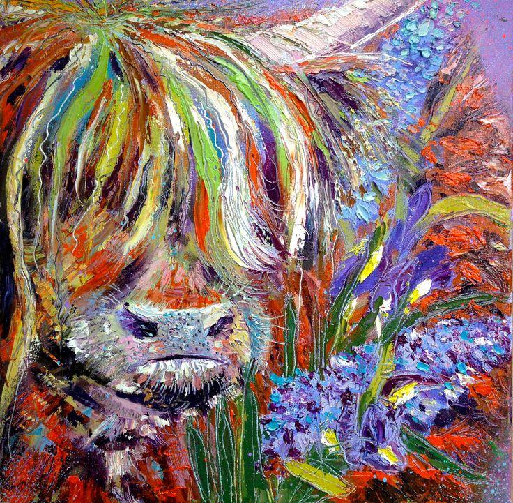'Springtime Coo, Iris and Hyacinth', oils on canvas 40x40cms