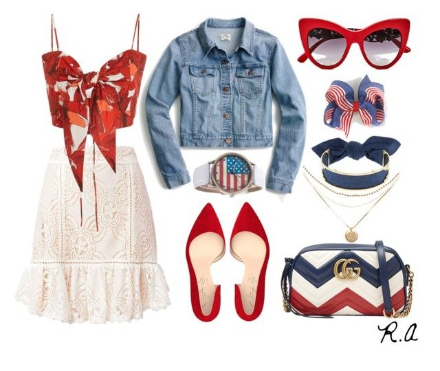 4th of July BBQ Party by ratihasmarani on Polyvore featuring Johanna Ortiz, J.Crew, Flannel, Shoes of Prey, Gucci, Monica Sordo and Dolce&Gabbana
