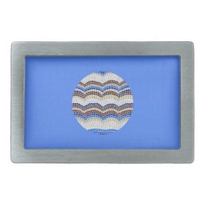 Round Blue Mosaic Rectangle Belt Buckle - accessories accessory gift idea stylish unique custom