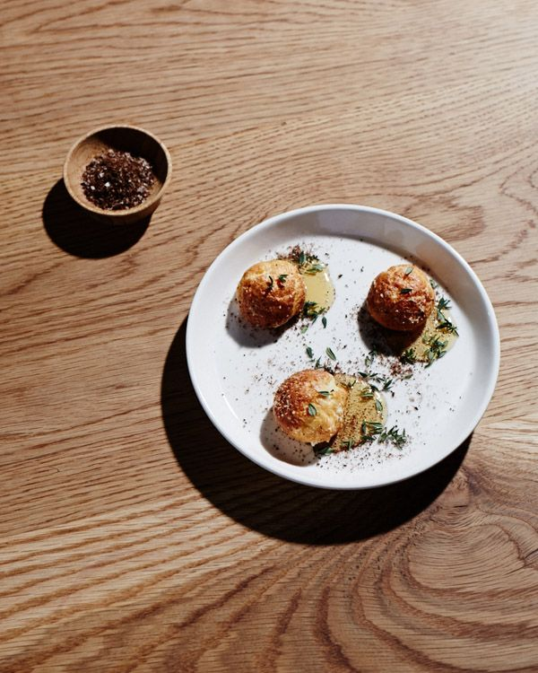 From the lovely TheTownMouse in Carlton - Profiteroles stuffed with Goats Cheese & Honey from their rooftop. Love love love our bees xxx