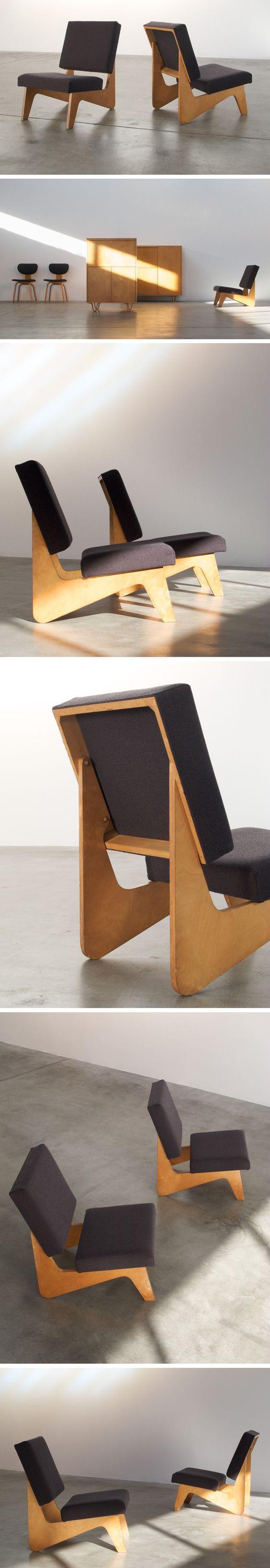 Cees Braakman pair of FB03 lounge chairs Combex series: