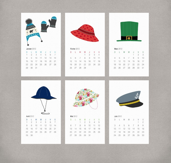 2013 French Calendar Printable DIY - Illustrated Holiday and Seasonal Hats (Française) by Daintzy