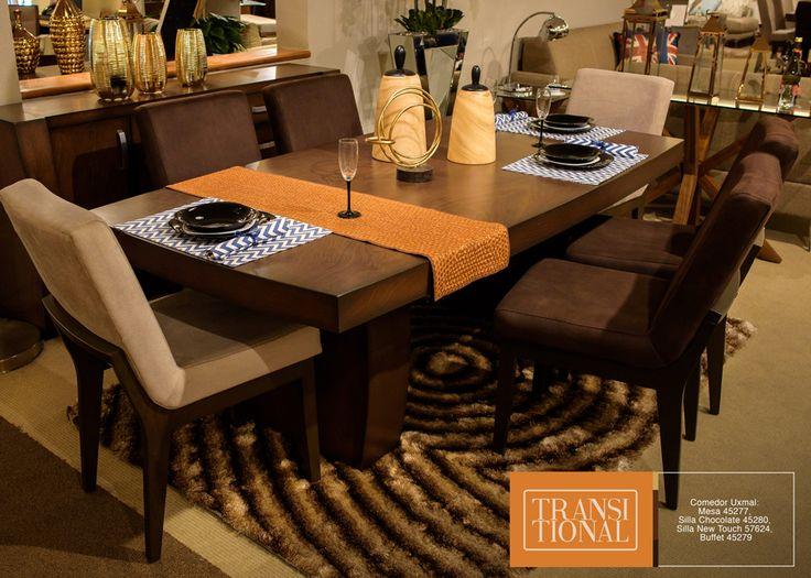 Colección Transitional. Comedor Uxmal: mesa 45277, silla chocolate 45280, silla New Touch 57624, buffet 45279
