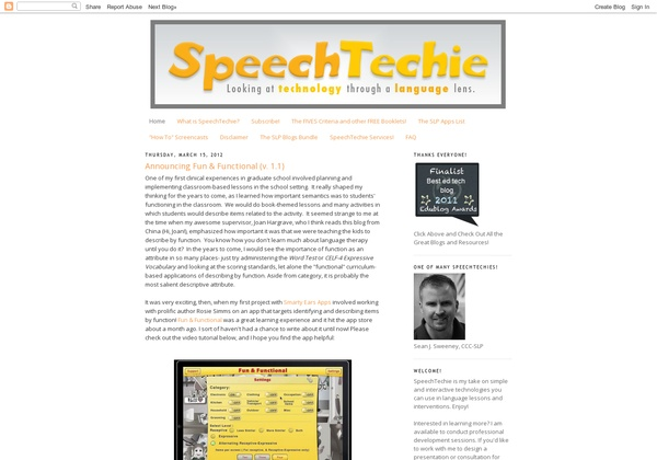 SLP: Speech Techie – Sean Sweeney is no stranger to technically savvy (and wanna-be technically savvy) SLPs. He is a regular presenter at both ASHA and Boston University on using technology for Speech and Language therapy. This blog is a must read and is a past EduBlog first place winner in the 'New Blog' category. Pinned by @PediaStaff – Read about all the speech blogs we recommend: http://ht.ly/9HVRX  Please Visit ht.ly/63sNt for all our pediatric therapy pins