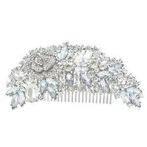 EVER FAITH Bridal Silver-Tone 4.7 Inch Flower Hair Comb Clear Austrian Crystal A06959-2  #krissylovesbling