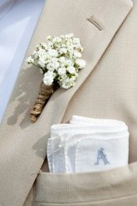Babys breath boutonniere with twine wrapping. Simple, not too femm- like this and the wheat option