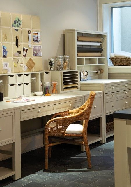 Organized Craft Room with Stylish Storage and Wrapping Station