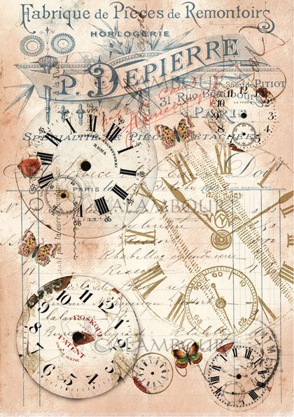MULBERRY PAPER, LITTLE SIZE, CALAMBOUR,VINTAGE WORD, DECOUPAGE, DECORATION , OLD CLOCK, BUTTERFLY, TT08