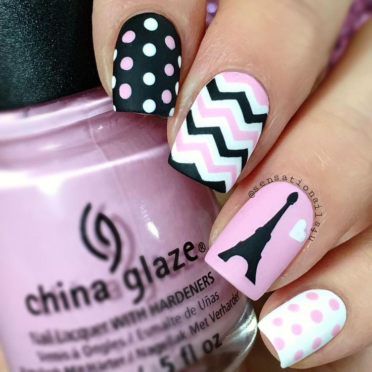 Pink and Black Paris Inspired Nails With Eiffel Tower
